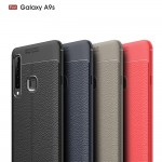 Samsung Galaxy A9 (2018) Удароустойчив Litchi Skin Калъф и Протектор