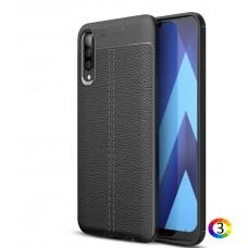 Samsung Galaxy A70 Удароустойчив Litchi Skin Калъф и Протектор