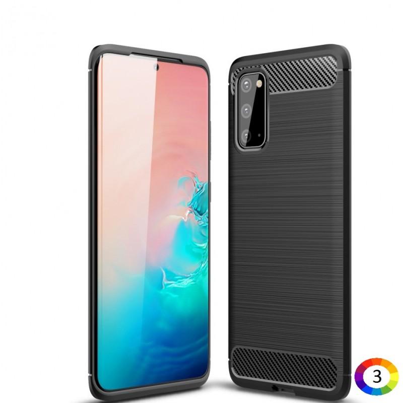 Samsung Galaxy S20 Удароустойчив Carbon Fiber Калъф и Протектор