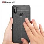 Samsung Galaxy A11 Удароустойчив Litchi Skin Калъф и Протектор