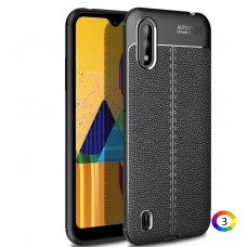 Samsung Galaxy M01 Удароустойчив Litchi Skin Калъф и Протектор