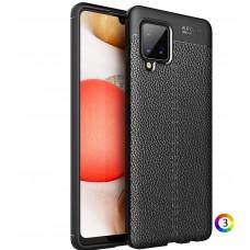 Samsung Galaxy A42 5G Удароустойчив Litchi Skin Калъф и Протектор