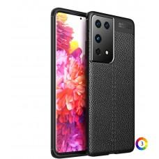 Samsung Galaxy S21 Ultra Удароустойчив Litchi Skin Калъф и Протектор