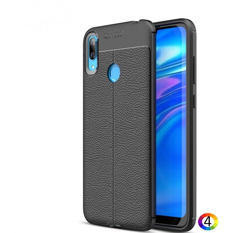Huawei Y7 (2019) Удароустойчив Litchi Skin Калъф и Протектор