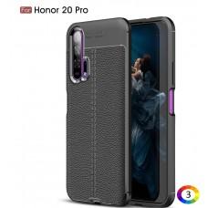 Huawei Honor 20 Pro Удароустойчив Litchi Skin Калъф и Протектор