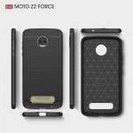 Motorola Moto Z2 Force Удароустойчив Carbon Fiber Калъф и Протектор