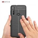 Motorola Moto G8  Удароустойчив Litchi Skin Калъф и Протектор