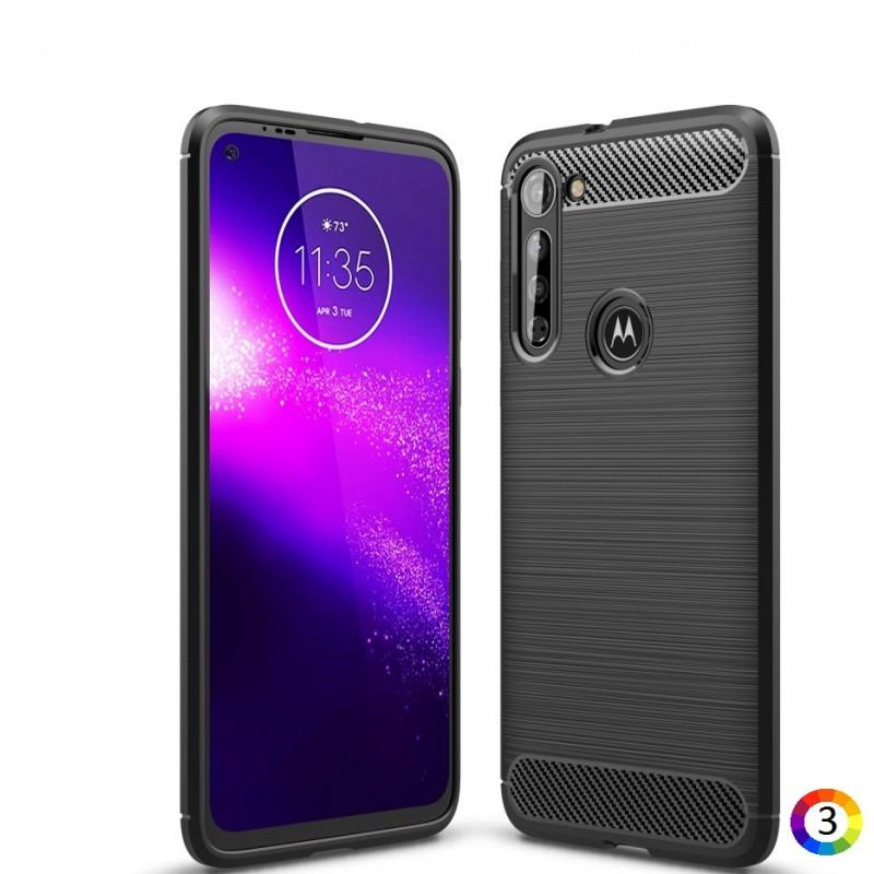 Motorola Moto G8 Удароустойчив Carbon Fiber Калъф и Протектор