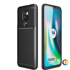 Motorola Moto G9 Play Удароустойчив Carbon Fiber Калъф и Протектор