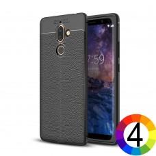 Nokia 7 plus Удароустойчив Litchi Skin Калъф и Протектор