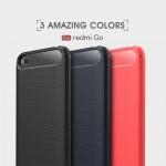 Xiaomi Redmi Go Удароустойчив Carbon Fiber Калъф и Протектор