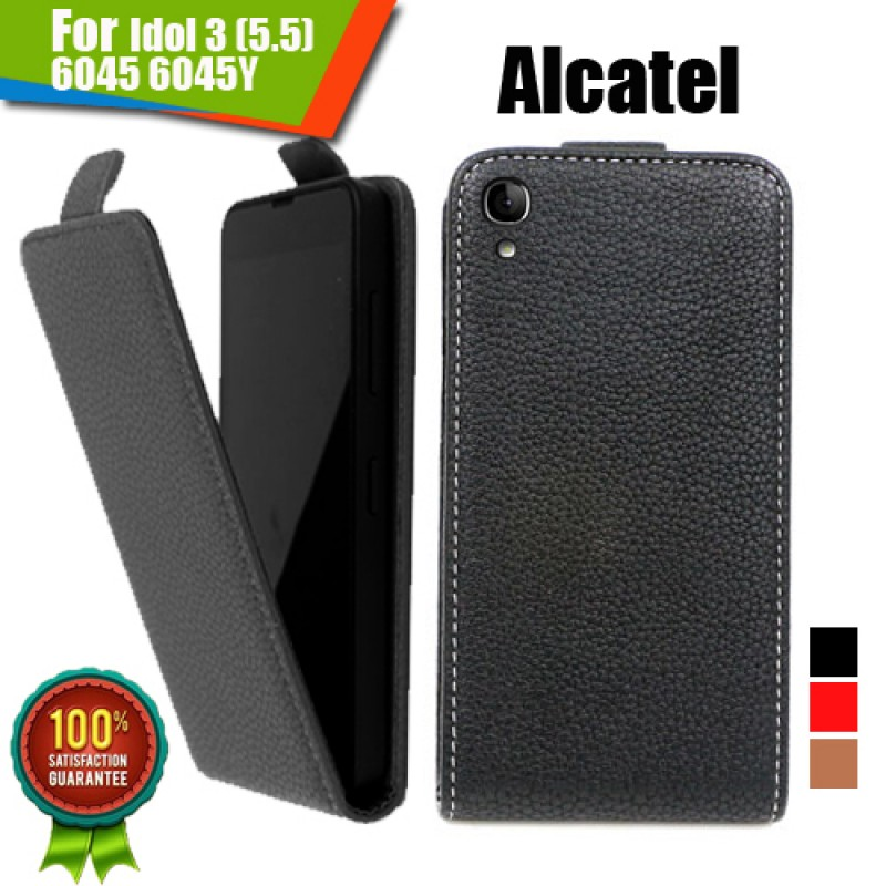 Alcatel Idol 3 (5.5) 6045 6045Y Флип Кожен Калъф и Протектор