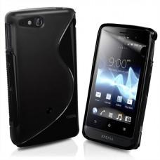 Sony Xperia go ST27i Силиконов Калъф Черен + Протектор